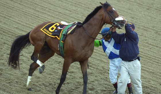 Barbaro is held by jockey Edgar Prado and a track worker after injuring his leg at the start of the 131st running of the Preakness Stakes, Saturday, May 20, 2006, at Pimlico Race Course in Baltimore. (AP Photo/Matthew S. Gunby)