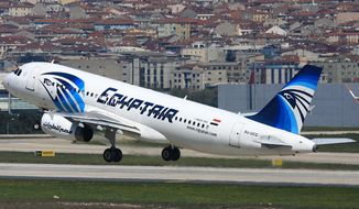 This is a April 2014 image of an EgyptAir Airbus A320 with the registration SU-GCC taking off from Istanbul Atatürk Airport, Turkey. Egyptian aviation officials said on Thursday May 19, 2016 that an EgyptAir flight MS804 with the registration SU-GCC, travelling from Paris to Cairo with 66 passengers and crew on board has crashed. The officials say the search is now underway for the debris. (AP Photo/ Ahmet Akin Diler)