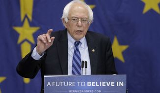 FILE - In this May 2, 2016 file photo, Democratic presidential candidate, Sen. Bernie Sanders, I-Vt, speaks during a campaign rally in Fort Wayne, Ind. Sanders is courting Democratic voters in the heavily Hispanic state of New Mexico with a trio of public rallies scheduled ahead of the state's primary. Sanders will speak Friday, May 20, 2016, at a community college in the state capital of Santa Fe before heading to Albuquerque.  (AP Photo/Darron Cummings, File)