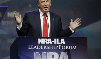 Republican presidential candidate Donald Trump speaks at the National Rifle Association convention in Louisville, Ky., on May 20, 2016. (Associated Press)
