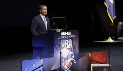 National Rifle Association executive director Chris W. Cox speaks at the National Rifle Association convention Saturday, May 21, 2016, in Louisville, Ky. (AP Photo/Mark Humphrey)