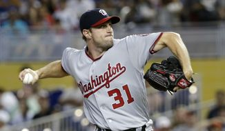 Washington Nationals' Max Scherzer delivers a pitch during the first inning of a baseball game against the Miami Marlins, Sunday, May 22, 2016, in Miami. (AP Photo/Wilfredo Lee)