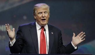 Republican presidential candidate Donald Trump speaks at the National Rifle Association convention in Louisville, Ky., on May 20, 2016. (Associated Press) **FILE**