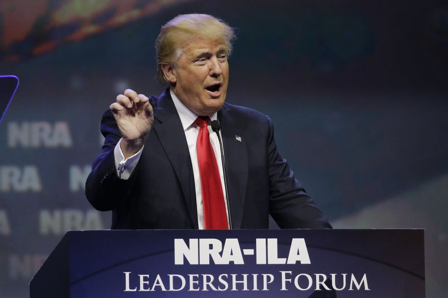 """The only way to save our Second Amendment is to vote for a person that you all know named Donald Trump,"" the presumptive Republican nominee said at the NRA-ILA Leadership Forum. ""I will never let you down. I will protect our Second Amendment. I will protect our country."" (Associated Press)"