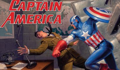 """The first issue of """"Steve Rogers: Captain America"""" by Marvel comics features the villain known as Red Skull opposing the mass influx of refugees into Europe from the Middle East and North Africa. (Marvel Comics)"""