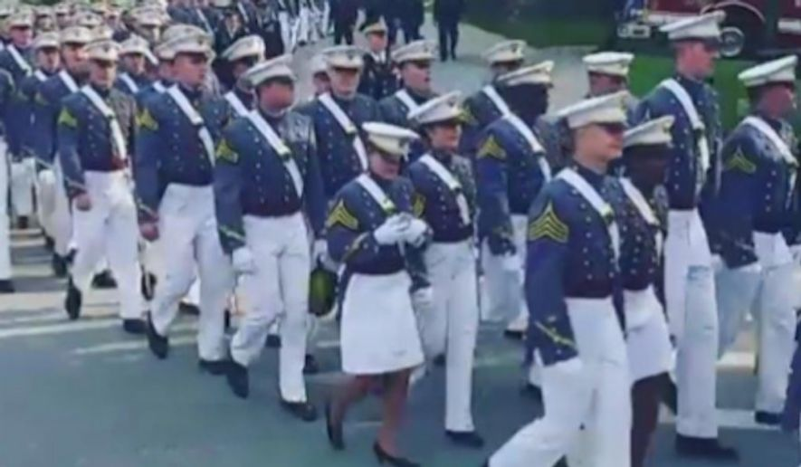 A video showing a West Point cadet apparently using her cellphone Saturday during a march to the prestigious military academy's graduation ceremony has sparked backlash. (Facebook/@West Point)