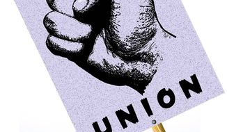 Illustration on why union members should support Trump by Alexander Hunter/The Washington Times