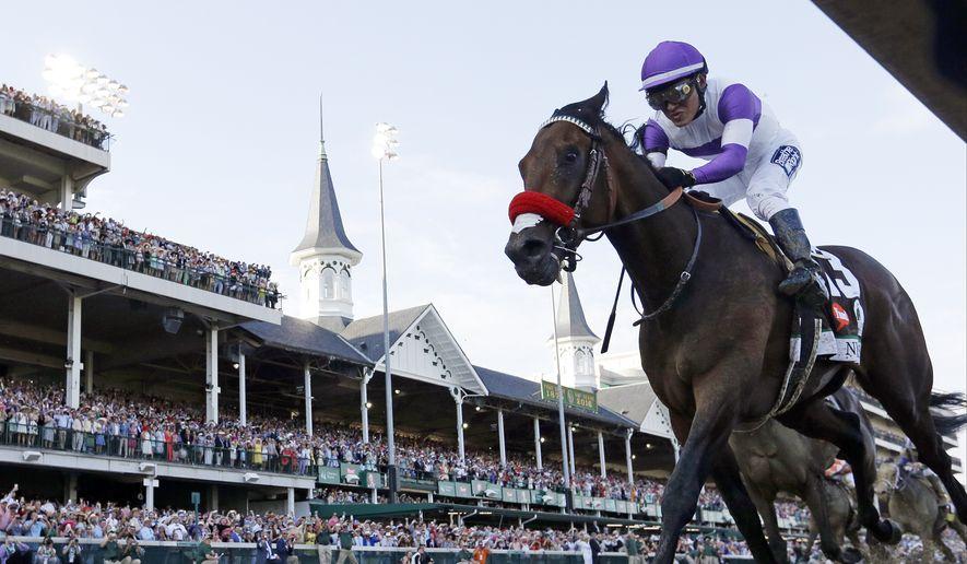 "FILE - In this May 7, 2016, file photo, Mario Gutierrez rides Nyquist to victory during the 142nd running of the Kentucky Derby horse race at Churchill Downs in Louisville, Ky. The trainer of Nyquist says the Kentucky Derby winner is sick and won't run in the Belmont Stakes on June 11. Doug O'Neill said Tuesday, May 24, 2016,  that Nyquist is ""out because of sickness."" (AP Photo/David J. Phillip, File)"