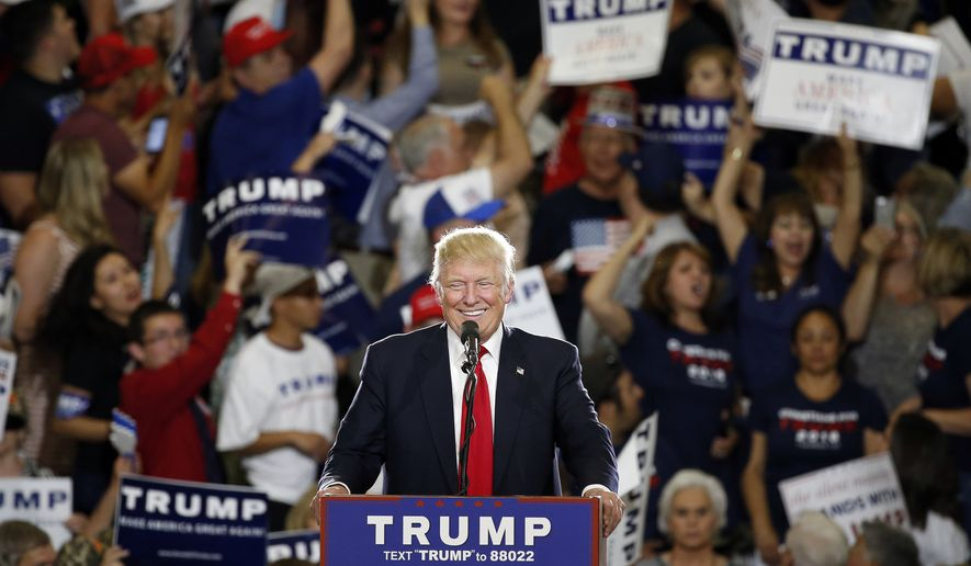 Republican presidential candidate Donald Trump speaks at a campaign event in Albuquerque, N.M., Tuesday, May 24, 2016. (AP Photo/Brennan Linsley)