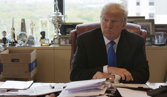Republican presidential candidate Donald Trump is photographed during an interview with The Associated Press in his office at Trump Tower in New York on May 10, 2016. (Associated Press) **FILE**