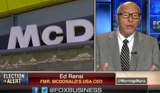 "Former McDonald's CEO Ed Rensi said the nationwide push by fast-food workers to raise the federal minimum hourly wage from $7.25 to $15 is ""nonsense"" that will inevitably lead to massive layoffs. (Fox Business Network)"