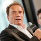FILE - In this April 22, 2015, file photo, actor Arnold Schwarzenegger participates in AOL's BUILD Speaker Series in New York. Schwarzenegger's affair with his longtime housekeeper became public after the former California governor and Maria Shriver announced their divorce. Mildred Baena spoke in 2011 about the affair, including disclosing that her son, Joseph Baena, is Schwarzenegger's son. (Photo by Evan Agostini/Invision/AP, File)
