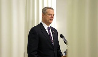 Mass. Gov. Charlie Baker speaks at the 2016 Massachusetts State Police Awards ceremony at the Statehouse in Boston on May 25, 2016. (Associated Press) **FILE**