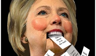 Illustration on Hillary Clinton's lies by Alexander Hunter/The Washington Times
