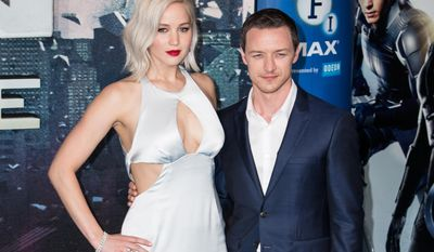 """Jennifer Lawrence and James McAvoy pose at the screening of the film """"X-Men: Apocalype"""" in this file photo from May 2016. Ms. Lawrence was among the targets of a nude-photo hacking incident in 2014. A Chicago man pleaded guilty to hacking Ms. Lawrence's iCloud account in federal court on July 1, 2016. (Photo by Vianney Le Caer/Invision/AP, File)"""