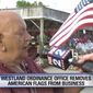 Ken Dabelstein of Westland, Mich, had his American flags confiscated from outside his business by a city worker right before Memorial Day weekend. (FJBK-2 Fox News Michigan screenshot)