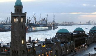 St. Pauli Piers and the port of Hamburg. (Wikipedia)