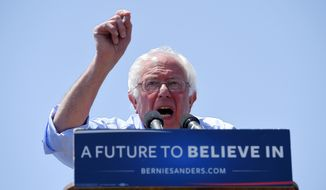 Democratic presidential candidate Sen. Bernie Sanders, I-Vt., speaks at a campaign rally, Saturday, May 28, 2016, in Santa Maria, Calif. (AP Photo/Mark J. Terrill)