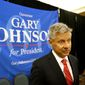 Libertarian presidential candidate Gary Johnson speaks to supporters and delegates at the National Libertarian Party Convention in Orlando, Fla., on May 27, 2016. (Associated Press) **FILE**