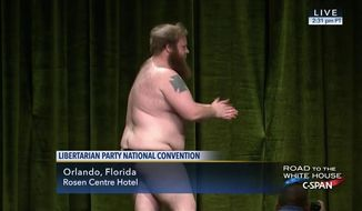 A candidate for Libertarian Party chair on Sunday danced and stripped down to his thong before leaving the stage amid a chorus of boos. (C-SPAN)