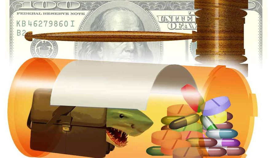 Illustration on tort threats to pharmaceutical companies by Alexander Hunter/The Washington Times