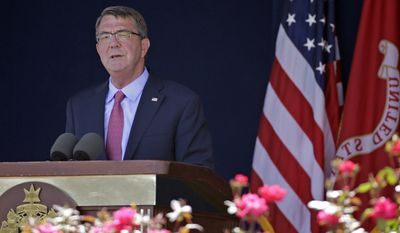 """FILE - In this Friday, May 27, 2016 file photo, U.S. Defense Secretary Ashton Carter delivers remarks during the U.S. Naval Academy's graduation and commissioning ceremony in Annapolis, Md. China on Monday, May 30, lashed out at criticism from Carter, accusing him of harboring a Cold War mentality and saying Beijing has no interest in """"playing a role in a Hollywood movie"""" of Washington's design. (AP Photo/Patrick Semansky, File)"""