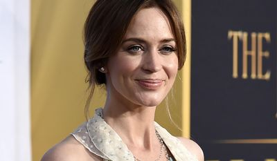 """FILE - In this April 11, 2016 file photo, Emily Blunt arrives at the LA Premiere of """"The Huntsman: Winter's War"""" in Los Angeles. Blunt will star with Lin-Manuel Miranda in """"Mary Poppins Returns,"""" a sequel to the 1964 classic, which will be released on Dec. 25, 2018. (Photo by Jordan Strauss/Invision/AP, File)"""
