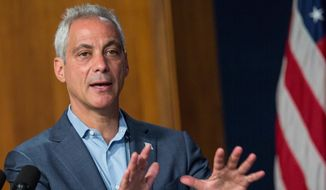 Chicago Mayor Rahm Emanuel. **File  (Lou Foglia/Chicago Sun-Times via AP)  MANDATORY CREDIT, MAGS OUT, NO SALES; CHICAGO TRIBUNE OUT