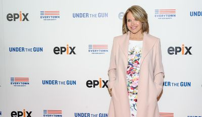 "Katie Couric attends the premiere of her documentary, ""Under The Gun"", hosted by The Cinema Society in New York in this May 12, 2016, file photo. Couric has taken responsibility for what she calls a decision that misrepresents the response of gun rights activists to a question she posed in the documentary. (Photo by Christopher Smith/Invision/AP, File)"