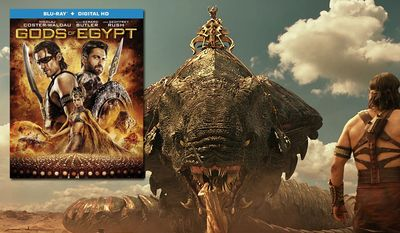 """The goddess Hathor tames a giant cobra as Horus looks on in """"Gods of Egypt,"""" now available on Blu-ray from Lionsgate Home Entertainment."""