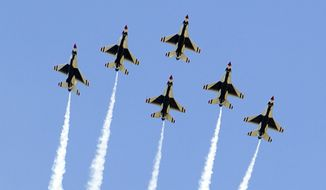 The Air Force Thunderbirds fly in formation during graduation ceremonies at the 2016 class of the U.S. Air Force Academy, Thursday, June 2, 2016, in Colorado Springs, Colo. President Barack Obama delivered the commencement address. A Thunderbirds jet crashed after flyover of academy commencement attended by Obama. (AP Photo/Pablo Martinez Monsivais)