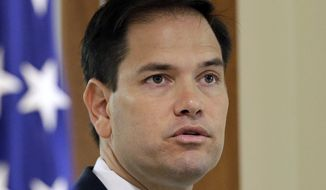 Sen. Marco Rubio, Florida Republican, speaks during a news conference in Doral, Fla., on June 3, 2016. (Associated Press) **FILE**