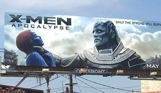 "Jennifer Lawrence stars as Mystique in the new movie ""X-Men: Apocalypse."" A billboard featuring her character in the clutches of the villain has enraged actress Rose McGowan. (Facebook News)"