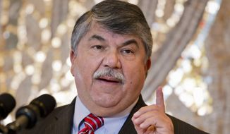 """""""We can't be fooled. Trump isn't interested in solving the problems he yells and swears about,"""" AFL-CIO President Richard Trumka said. """"He delivers punch lines, but there's nothing funny about them."""" (Associated Press)"""