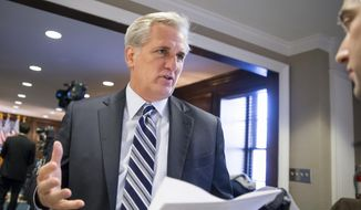 In this Dec. 8, 2015, file photo, House Majority Leader Kevin McCarthy of California speaks with a reporter on Capitol Hill in Washington. (AP Photo/J. Scott Applewhite, File)