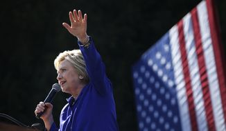 Democratic presidential candidate Hillary Clinton speaks at a rally, Monday, June 6, 2016, in Los Angeles. (AP Photo/John Locher)