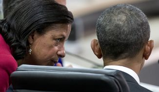 National Security Adviser Susan Rice talks with President Barack Obama before the afternoon plenary session of the Nuclear Security Summit, Friday, April 1, 2016, in Washington. (AP Photo/Alex Brandon) **FILE**