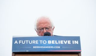 On the eve of California's primary, Democratic presidential candidate Sen. Bernie Sanders, I-Vt., addresses supporters on Monday, June 6, 2016, in San Francisco. (AP Photo/Noah Berger)