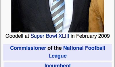 """NFL Commissioner Roger Goodell's biography was changed on Wikipedia after the league's Twitter account was hacked. Editors falsely claimed that Mr. Goodell died of """"deflated testicles."""""""
