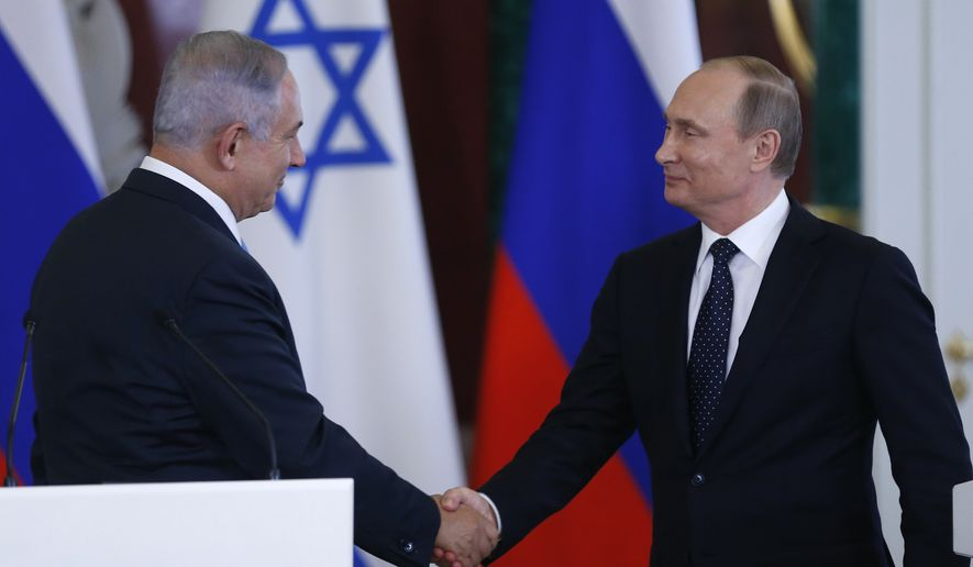 Russian President Vladimir Putin (right) and Israeli Prime Minister Benjamin Netanyahu held talks this week in Moscow and pledged to expand their cooperation in the fight against terrorism. (Associated Press)