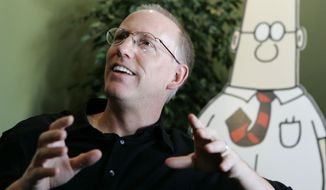 """I've decided to come off the sidelines and endorse a candidate for President of the United States,"" Scott Adams wrote on his popular blog Sunday night. ""I've decided to endorse Hillary Clinton for President, for my personal safety."" (Associated Press)"