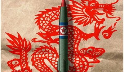 Illustration on China's relationship with a nuclear North Korea by Alexander Hunter/The Washington Times
