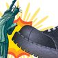 Miss Liberty Gets the Boot Illustration by Greg Groesch/The Washington Times