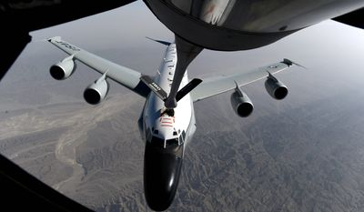 """""""U.S. Pacific Command has reviewed the details of an intercept of a U.S. reconnaissance aircraft, a U.S. Air Force RC-135, on a routine patrol by two Chinese jets, J-10s, that occurred on June 7 in international airspace, over the East China Sea,"""" said Cmdr. David Benham, spokesman for the command. (U.S. Air force)"""