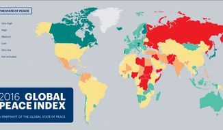 The 2016 Global Peace Index ranks the statistical peacefulness in 162 nations. (Graphic from Institute of Economics and Peace)