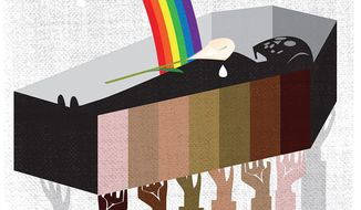 Illustration on how, in a law abiding society, all lives matter by Linas garsys/The Washington Times