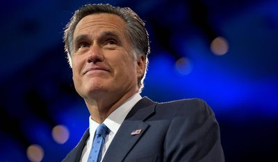 This March 15, 2013, file photo shows Mitt Romney, a former Massachusetts governor and the 2012 Republican presidential candidate, at the 40th annual Conservative Political Action Conference in National Harbor, Md. (Associated Press) ** FILE **