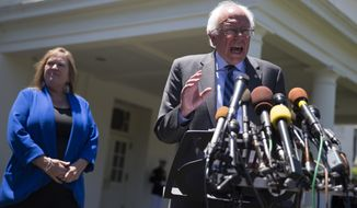 Democratic presidential candidate Sen. Bernie Sanders, I-Vt., accompanied by his wife Jane Sanders, speaks to reporters outside the White House in Washington, Thursday, June 9, 2016, following a meeting with President Barack Obama.  (AP Photo/Evan Vucci)