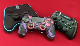 Scuf Gaming's Infinity 4PS controller and Satechi's Universal Gamepad are some last-minute Father's Day gift ideas. (Photograph by Joseph Szadkowski/The Washington Times)