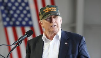 Republican Presidential candidate Donald Trump speaks during a campaign rally, Saturday, June 11, 2016, at a private hanger at Greater Pittsburgh International Airport in Moon, Pa. (AP Photo/Keith Srakocic) ** FILE **